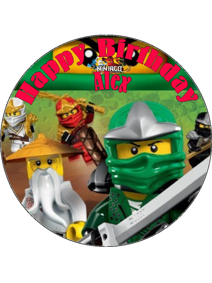 75 Personalised Lego Ninjago Design B Edible Icing Birthday Cake Topper 4525 P