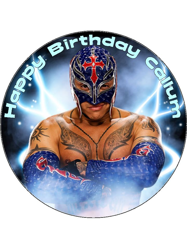 Superb 7 5 Personalised Rey Mysterio Edible Icing Or Wafer Birthday Cake Personalised Birthday Cards Cominlily Jamesorg