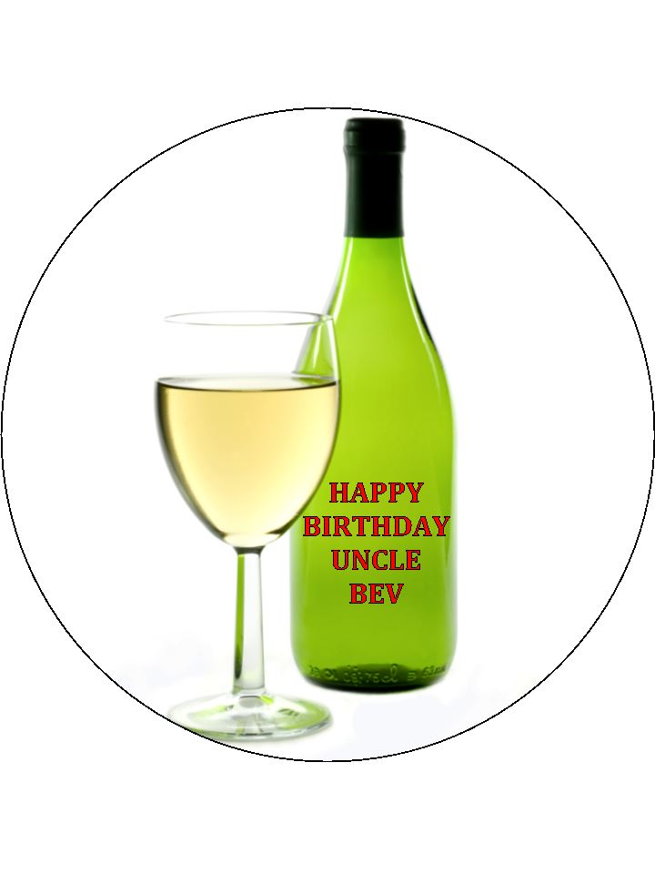 75 Personalised White Wine Glass And Bottle Edible Icing Or Wafer Cake Top Topper