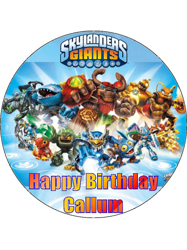 7 5 Skylanders Giants Personalised Edible Icing Or Wafer Paper Cake Topper
