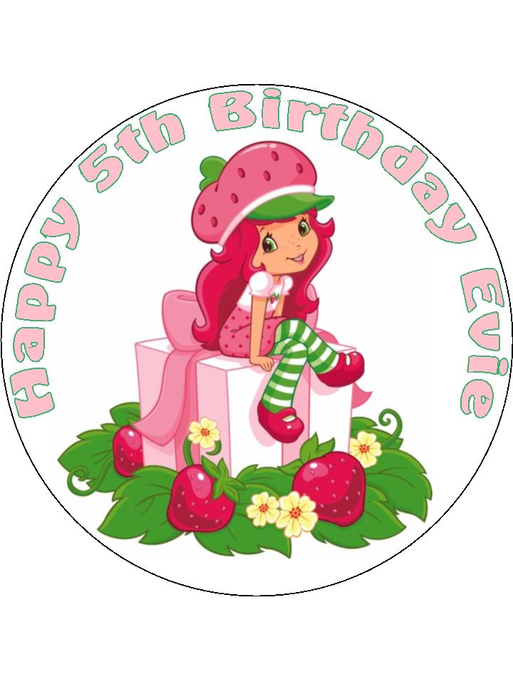 Fantastic 7 5 Strawberry Shortcake Personalised Edible Icing Or Wafer Paper Funny Birthday Cards Online Elaedamsfinfo