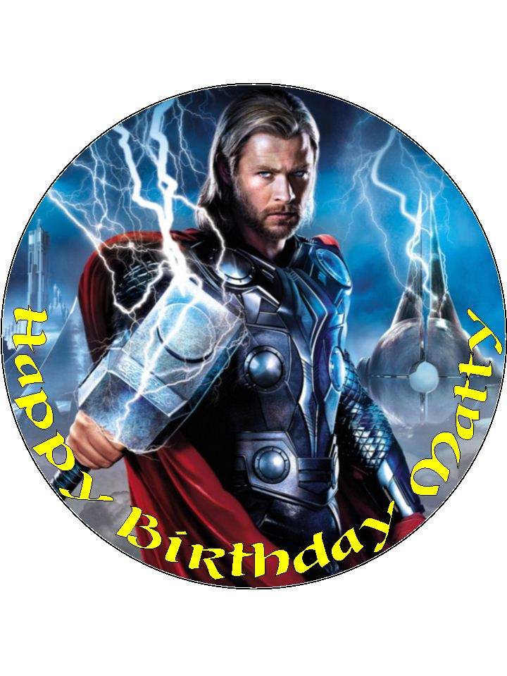 7 5 thor thor personalised edible icing or wafer paper cake top topper