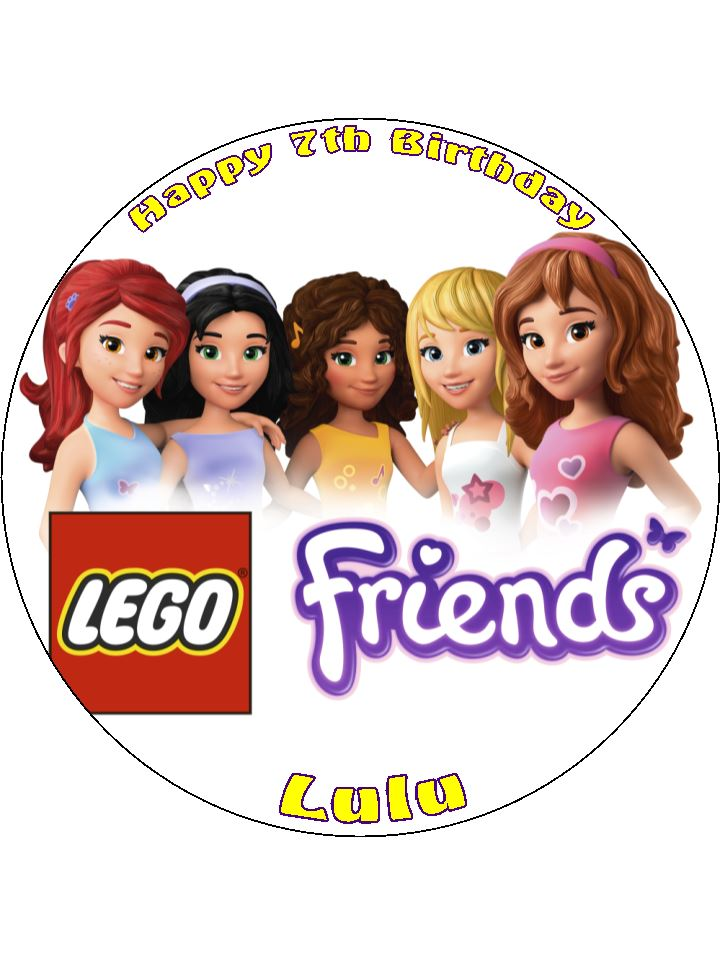 7 5 Lego Friends Personalised Edible Icing Or Wafer Cake