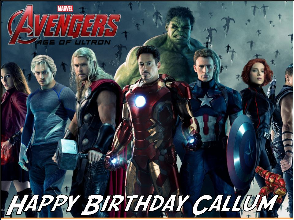 Swell A4 Avengers Age Of Ultron Personalised Edible Icing Or Wafer Paper Funny Birthday Cards Online Elaedamsfinfo