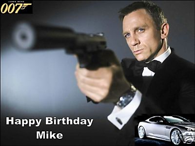 A4 Custom 007 James Bond Personalised Edible Icing Or Wafer Paper Birthday Cake Top Topper