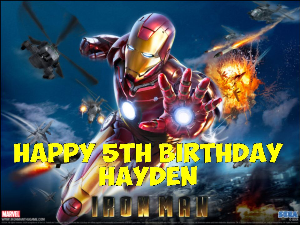 A4 Iron Man Personalised Edible Icing Or Wafer Paper Cake