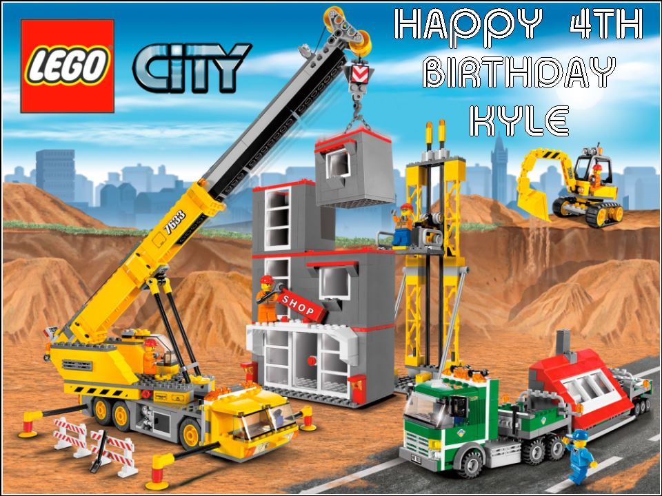 A4 Lego City Edible Icing Or Wafer Birthday Cake Topper Material 2612 P