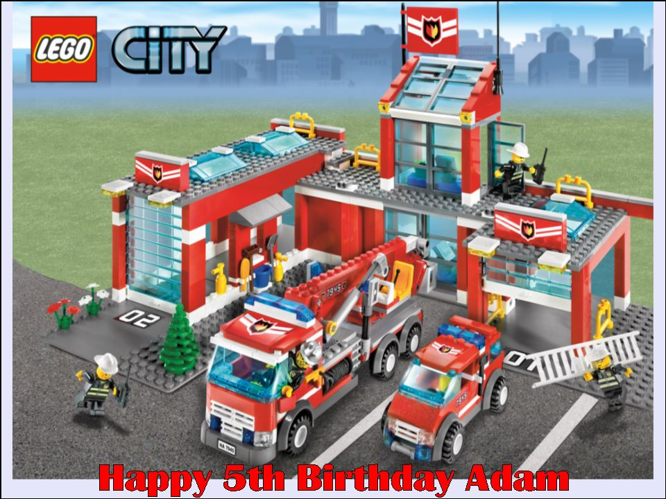 A4 Lego City Fire Rescue Personalised Icing Or Wafer Birthday Cake Top Topper 1796 P