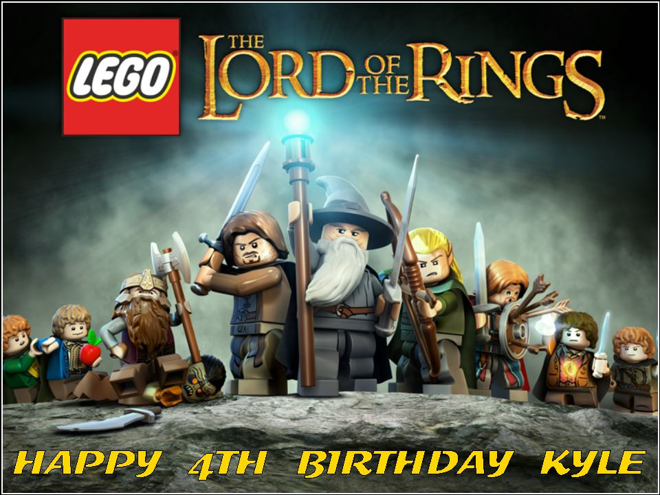 Excellent A4 Lego Lord Of The Rings Edible Icing Or Wafer Birthday Cake Top Birthday Cards Printable Giouspongecafe Filternl