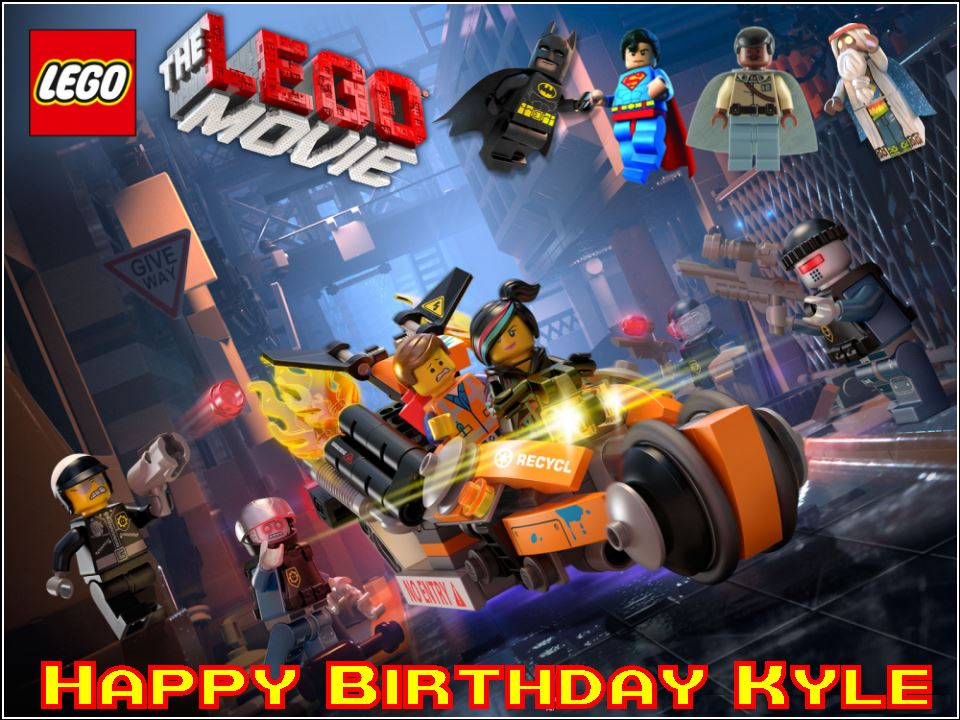 Enjoyable A4 Lego Movie Design B Personalised Edible Icing Or Wafer Birthday Cards Printable Trancafe Filternl