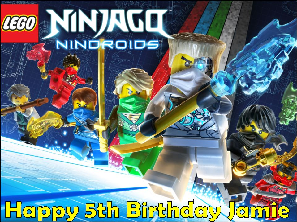 A4 Lego Ninjago Nindroids Personalised Edible Icing or Wafer Paper Cake  Topper