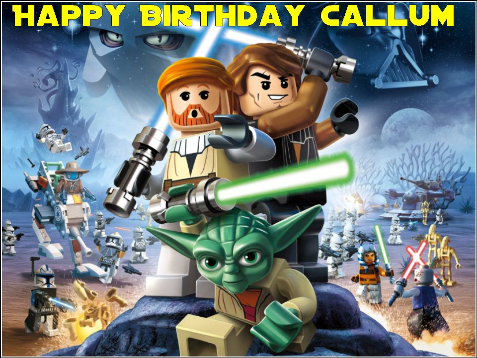 Awe Inspiring A4 Lego Star Wars Edible Icing Or Wafer Cake Topper Funny Birthday Cards Online Bapapcheapnameinfo
