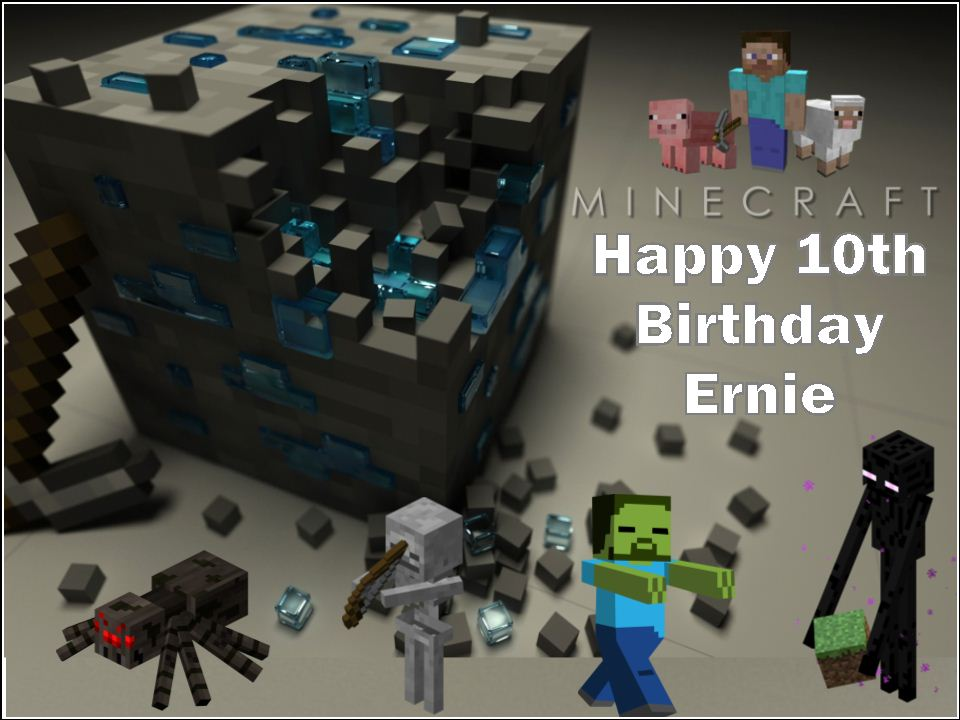 A4 Minecraft Edible Icing Or Wafer Cake Top Topper