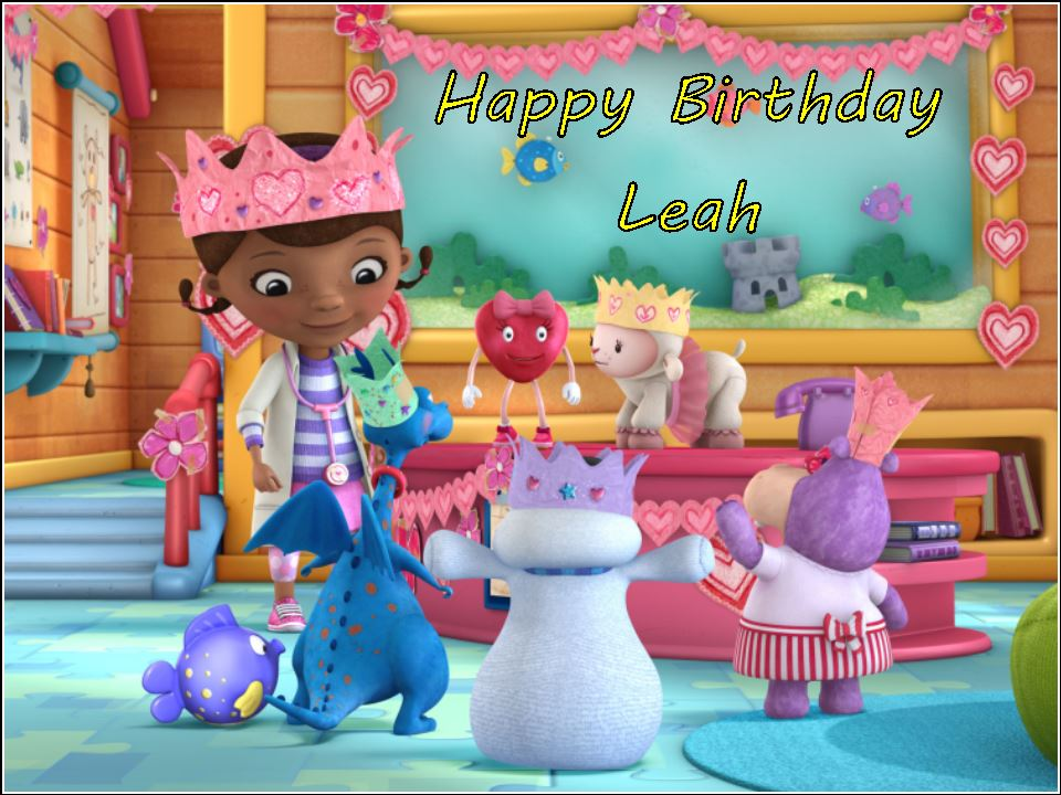 Wondrous A4 Personalised Doc Mcstuffins Edible Icing Or Wafer Birthday Cake Personalised Birthday Cards Beptaeletsinfo