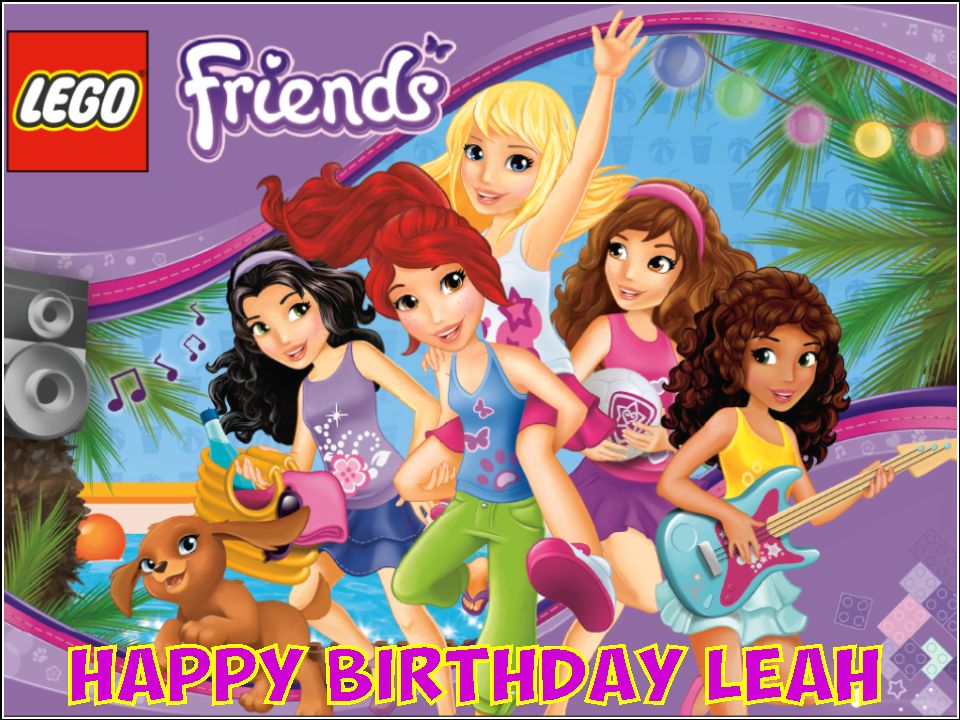 Pleasant A4 Personalised Lego Friends Edible Icing Or Wafer Cake Topper Personalised Birthday Cards Paralily Jamesorg