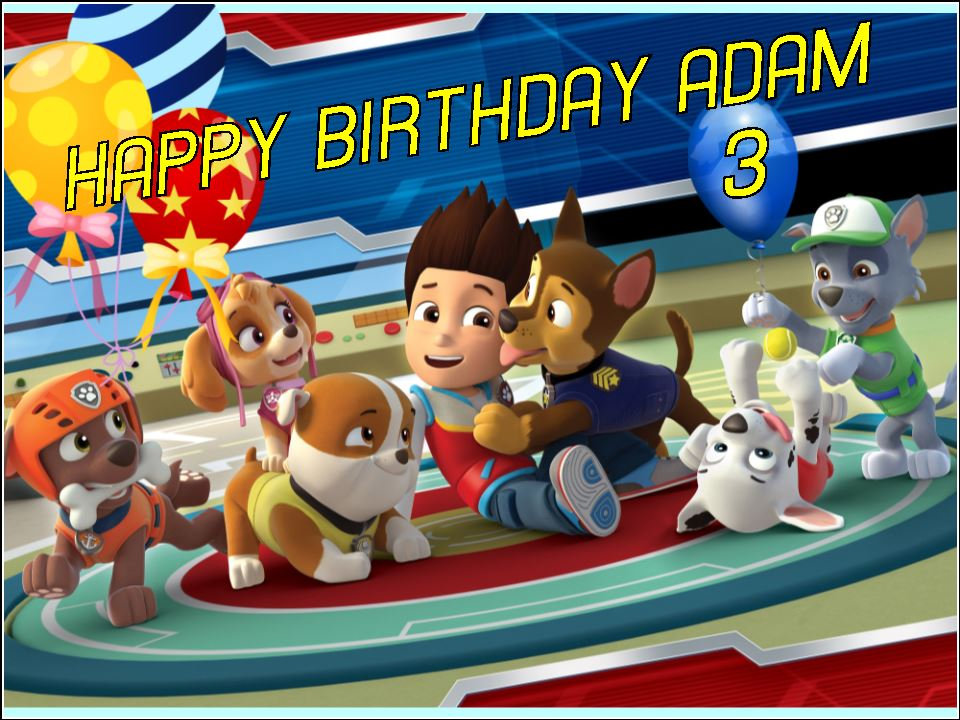 A4 Personalised Paw Patrol Edible Icing or Wafer Birthday ...