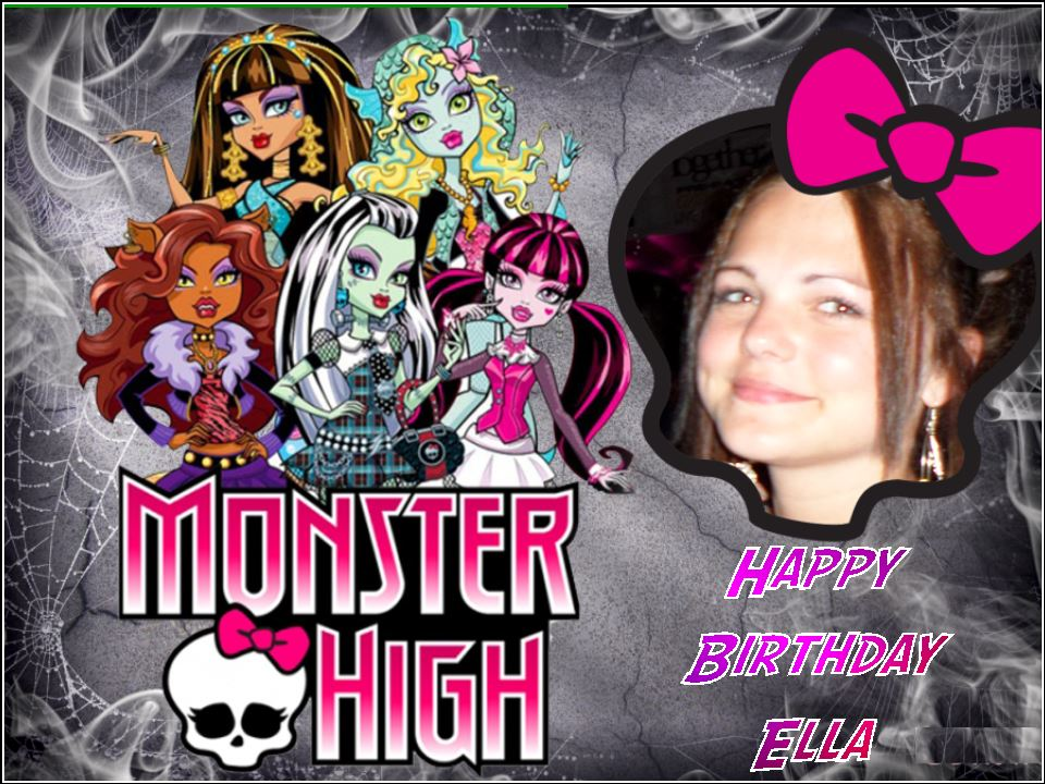Fantastic A4 Personalised Photo In Monster High Frame Edible Icing Or Wafer Personalised Birthday Cards Beptaeletsinfo