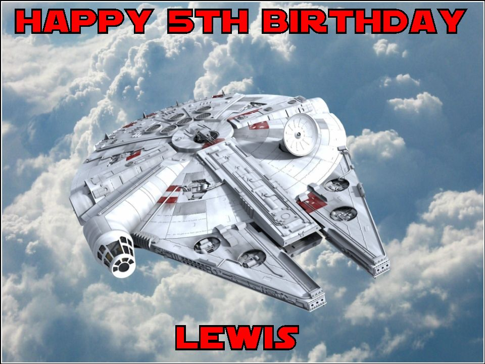 a4 personalised star wars millenium falcon edible icing or wafer cake topper