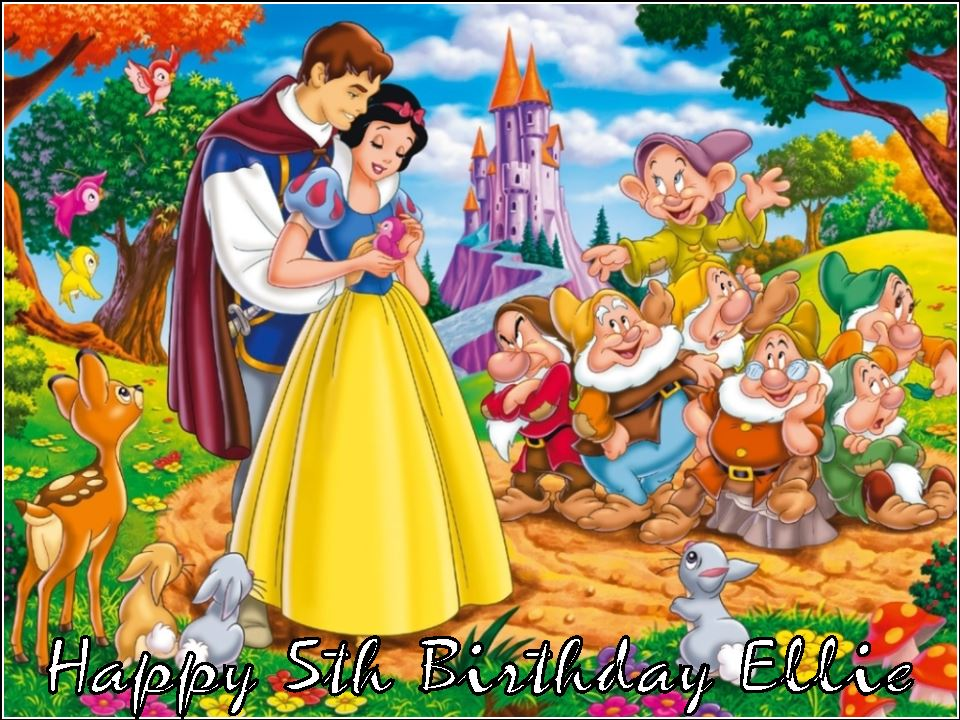 A4 Snow White And The Seven Dwarfs Edible Icing Or Wafer Birthday