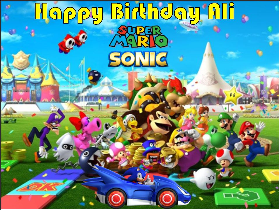 Swell A4 Sonic The Hedgehog Super Mario Personalised Edible Icing Or Personalised Birthday Cards Veneteletsinfo