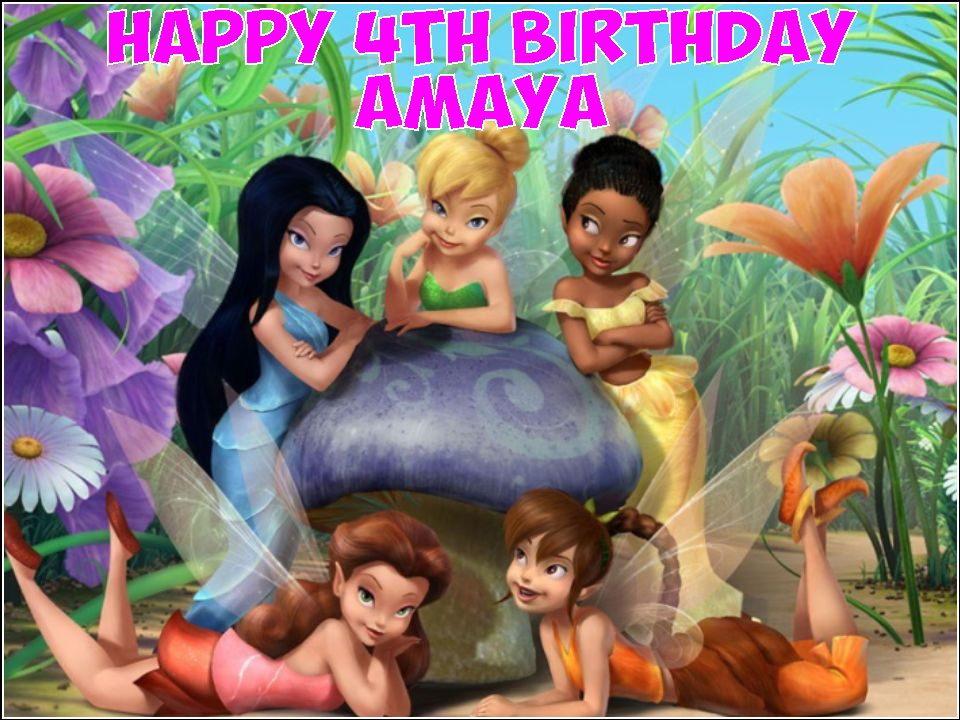 A4 Tinkerbell And Disney Fairies Edible Icing Or Wafer Birthday Cake Topper 1200 P